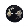 Dark brown wooden button with white flowers, 20 mm, 2 holes