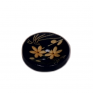 Wooden dark blue button with flower engraving, 15 mm, 2 holes